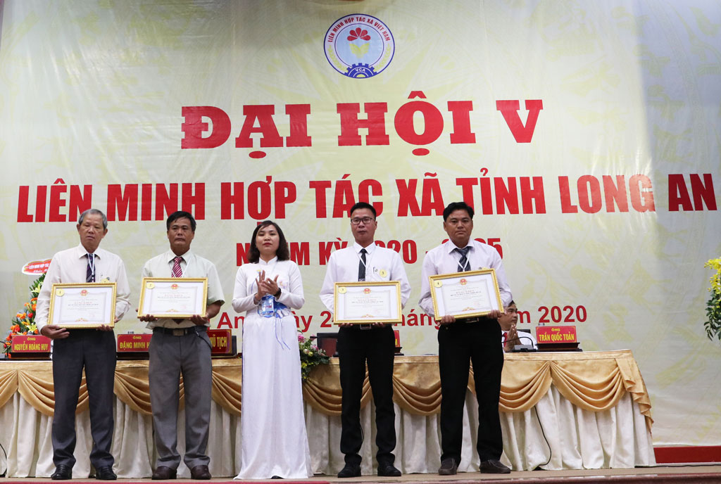 Vice Chairman of the Provincial Fatherland Front Committee - Le Thi Cam Tu awards certificates of merit of the Provincial People's Committee to collectives