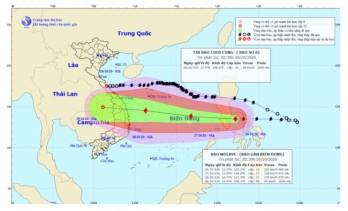 Bão Molave (Bão số 9) đi vào Biển Đông và tiếp tục mạnh thêm