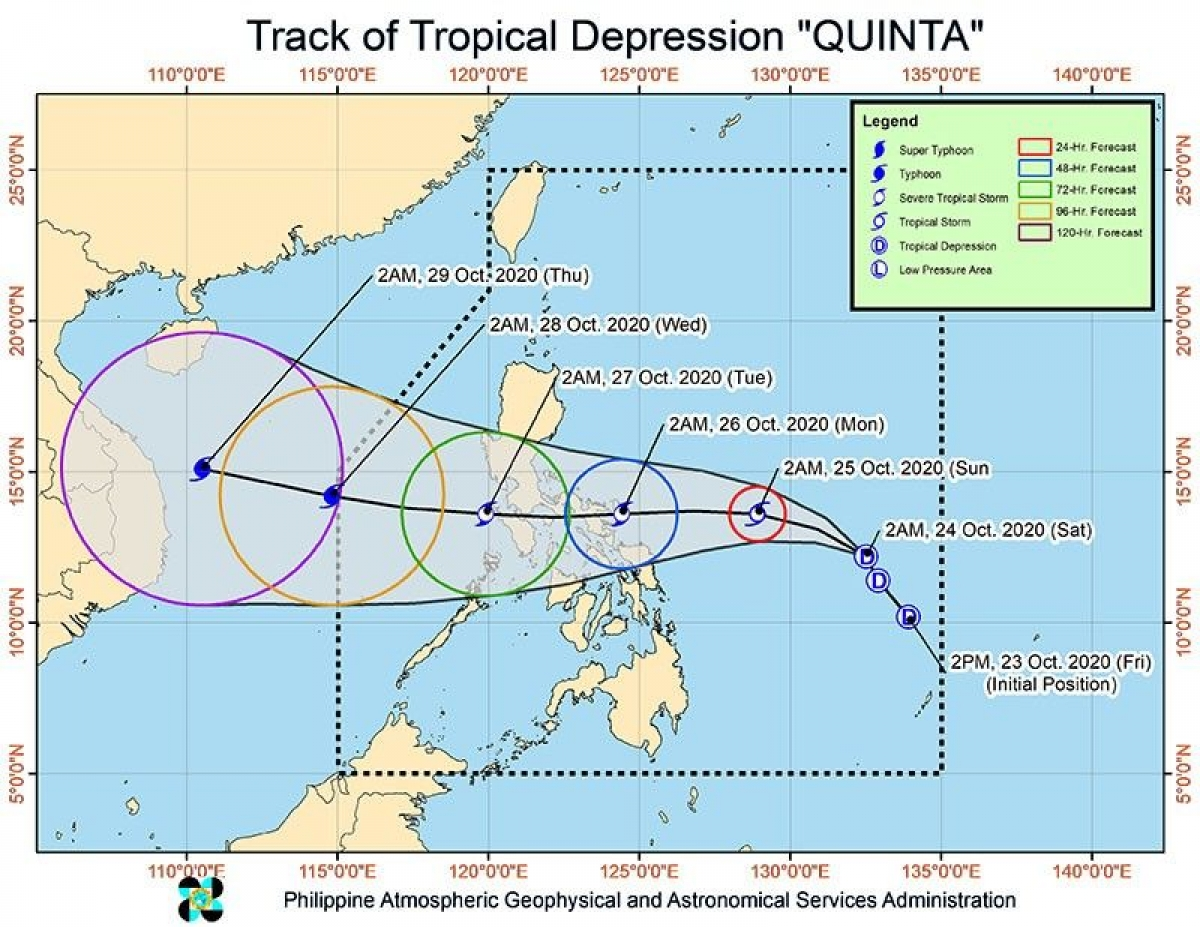 Bản đồ đường đi của bão Molave của Hội đồng Quản lý và Giảm thiểu Rủi ro Thiên tai Quốc gia Phillipines. Nguồn: Philstar.com