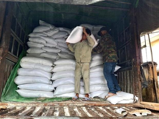 Cục Dự trữ Nhà nước khu vực Đà Nẵng đã xuất 100 tấn gạo dự trữ quốc gia cứu trợ khẩn cấp cho huyện Phước Sơn. (Ảnh: Quốc Dũng/TTXVN)