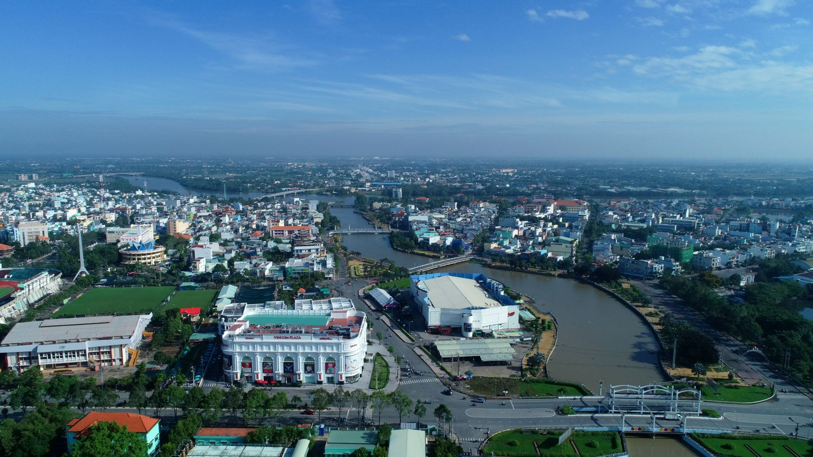 Tan An city is viewed from above (Photo: Thanh Nga)