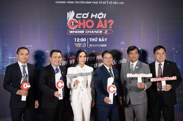 Leaders of large companies at Whose Chance? television game show. (Photo courtesy of ALO Media)