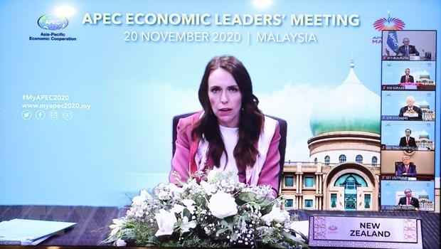 Bà Jacinda Ardern, Thủ tướng New Zealand, nước đăng cai hội nghị APEC lần thứ 28, phát biểu. (Ảnh: Thống Nhất/TTXVN)