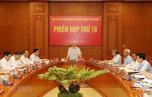 Tổng Bí thư, Chủ tịch nước Nguyễn Phú Trọng phát biểu chỉ đạo tại Phiên họp thứ 18, Ban Chỉ đạo Trung ương về phòng, chống tham nhũng. (Ảnh: Trí Dũng/TTXVN)