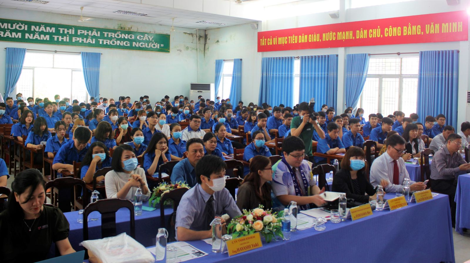 More than 200 students from Long An College participated in the seminar on orientation and Japanese job recruitment