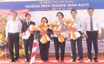 Former State President - Truong Tan Sang attends the ground-breaking ceremony of Truong Minh Bach Secondary School