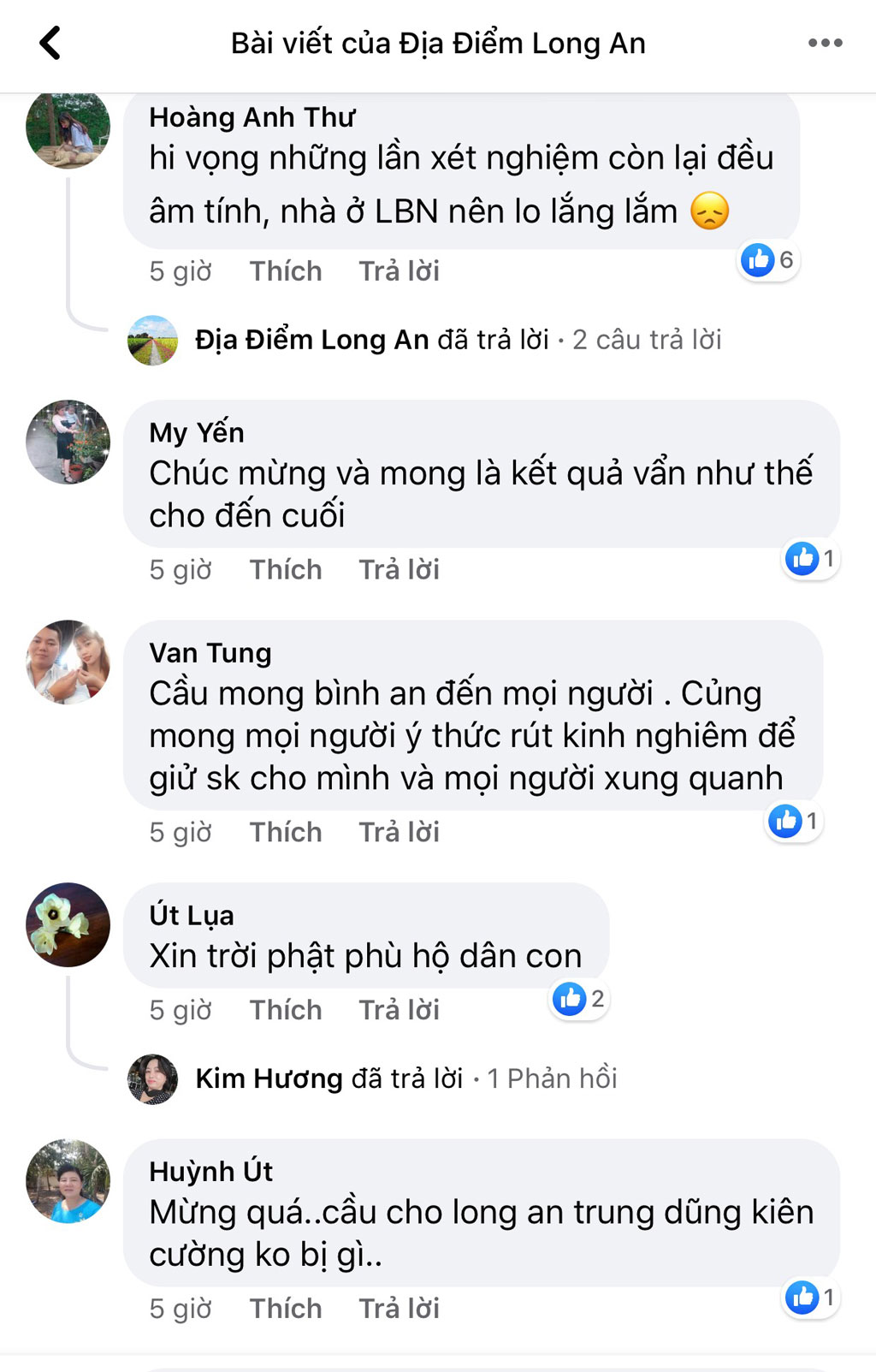 Several Facebook accounts are excited by the news of F1 cases in Long An involving patient 1440 negative for the first time on the Long An Destination page