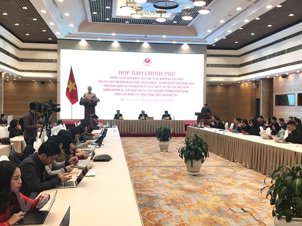 Họp báo chuyên đề về Nghị quyết 01 và 02 của Chính phủ do Văn phòng Chính phủ tổ chức sáng 4/1. (Ảnh: Đức Duy/Vietnam+)