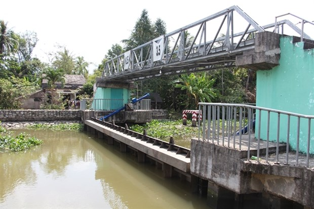 A saltwater-prevention sluice in Vi Thanh city in the Mekong Delta province of Hau Giang. (Photo: VNA)