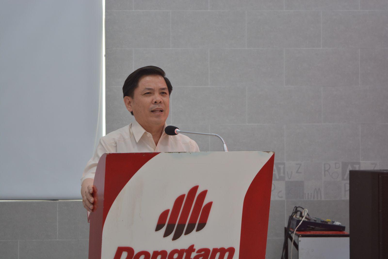 Minister of Transport - Nguyen Van The speaks at the visit