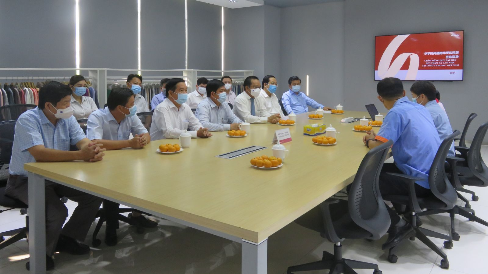 The delegation works, visits about production at Huafu Vietnam One Member Limited Company