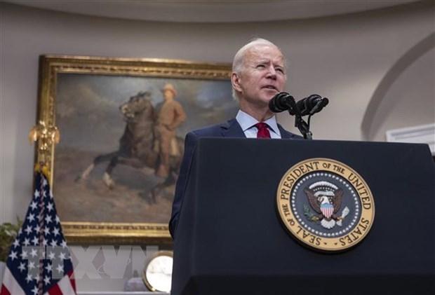 Tổng thống Mỹ Joe Biden phát biểu tại Washington, DC. (Nguồn: AFP/TTXVN)