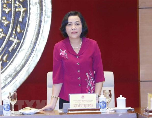 Trưởng ban Công tác đại biểu thuộc Ủy ban Thường vụ Quốc hội Nguyễn Thị Thanh phát biểu. (Ảnh: Doãn Tấn/TTXVN)