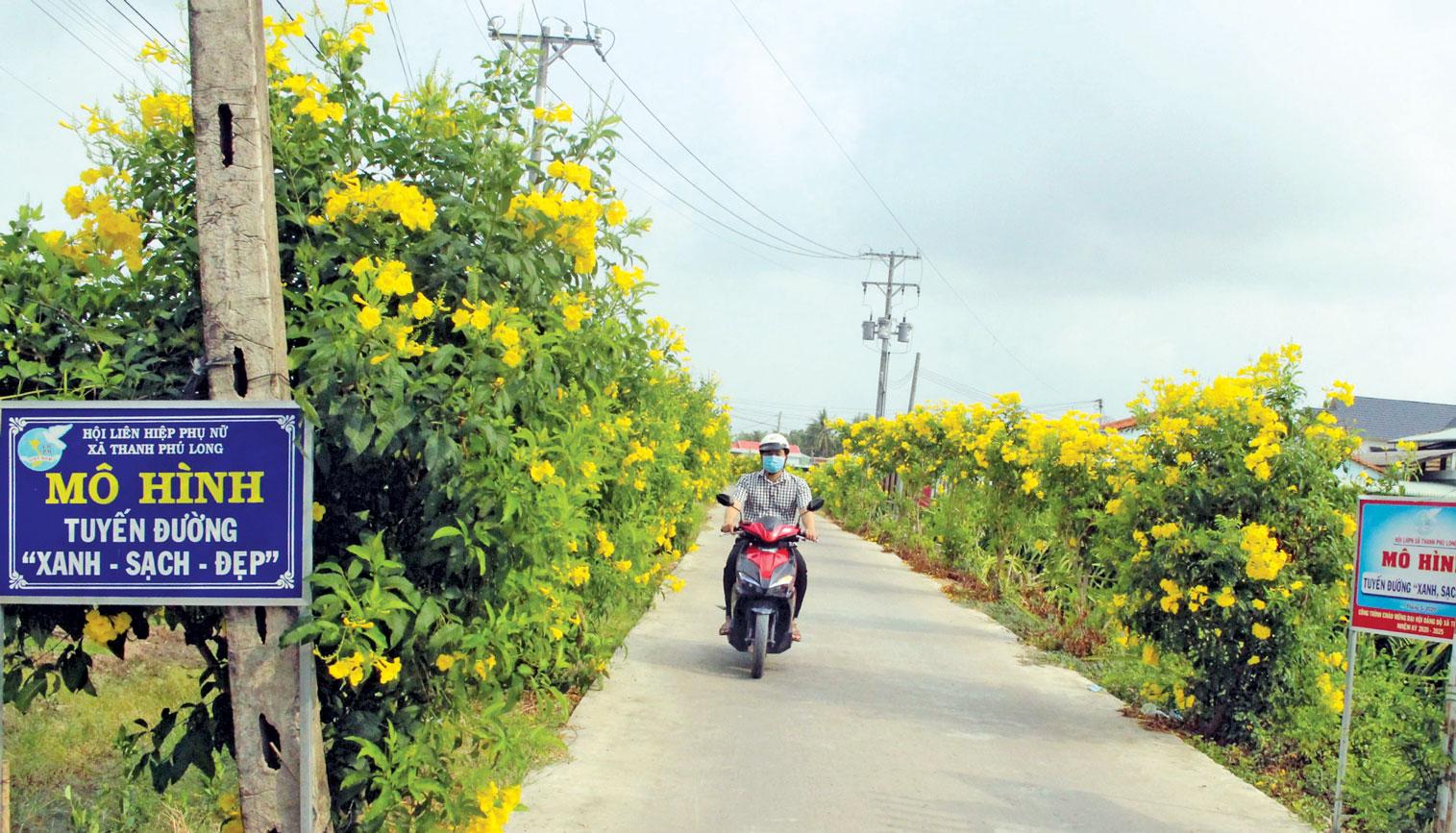 Ngành, tổ chức chính trị - xã hội xã Thanh Phú Long vận động người dân trồng hoa, cây xanh dọc các tuyến đường