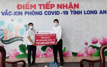 Agribank Đông Long An ủng hộ 150 triệu đồng cho Quỹ vắc-xin phòng Covid-19